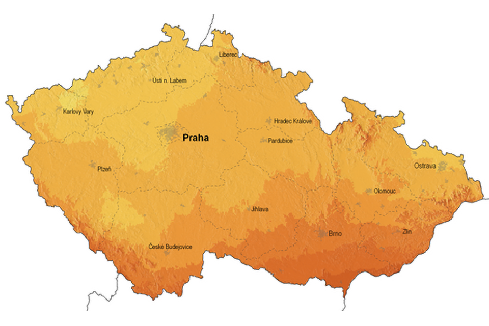 Mapa ČR sluneční záření