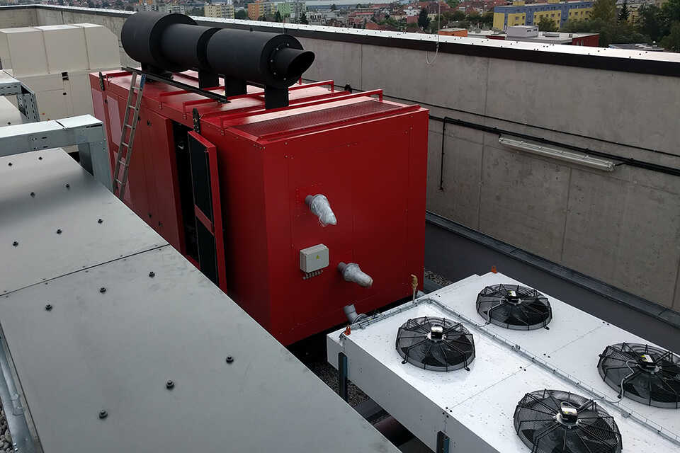 Externí chladící systém motorgenerátoru