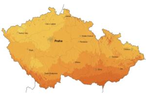 Sluneční záření - mapa ČR